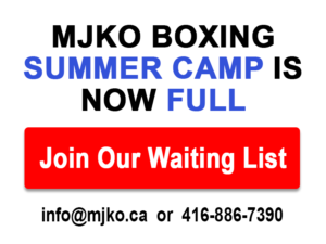 MJKO Boxing Summer Camp Full - Join the Waiting List